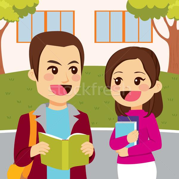 Jovem estudantes escola falante livros Foto stock © Kakigori
