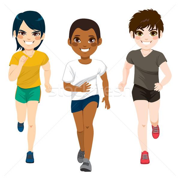 Tiener jongens jogging drie jonge Stockfoto © Kakigori