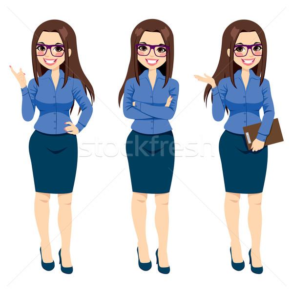 Zakenvrouw bril gebaren drie verschillend Stockfoto © Kakigori