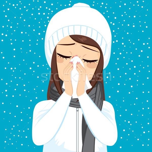зима грипп сморкании белый бумаги Сток-фото © Kakigori