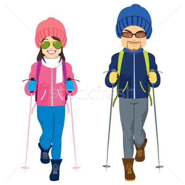 5a9b1544cc Couple Ski Winter Clothes vector illustration © Kakigori ( 7980989 ...