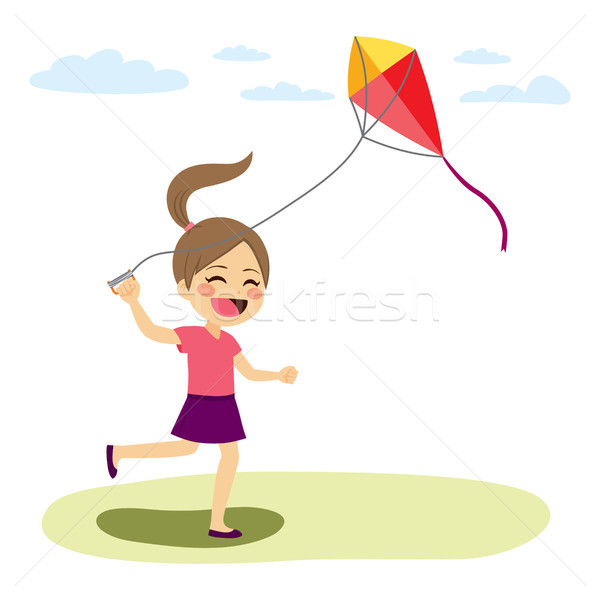 Menina voador pipa belo jovem bonitinho Foto stock © Kakigori