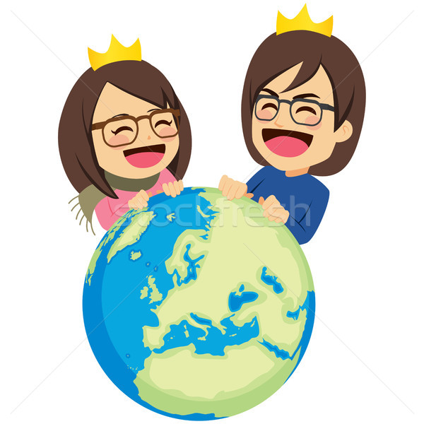Ricos Pareja gobernar mundo feliz Foto stock © Kakigori