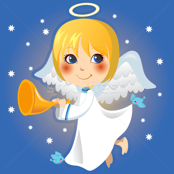 Pequeño ángel anuncio cute trompeta Foto stock © Kakigori