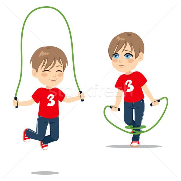 Fiú ugrik kötél kettő tevékenység tanul Stock fotó © Kakigori