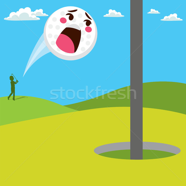 Schreien Golfball Angst Golf Spaß Ball Stock foto © Kakigori