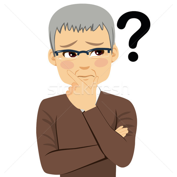 Senior Man Thinking Question Mark Stock photo © Kakigori