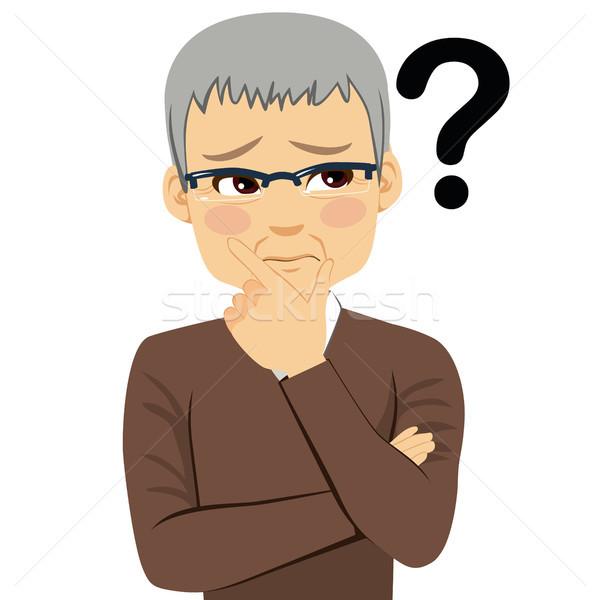 Kıdemli adam düşünme soru işareti bakıyor el Stok fotoğraf © Kakigori