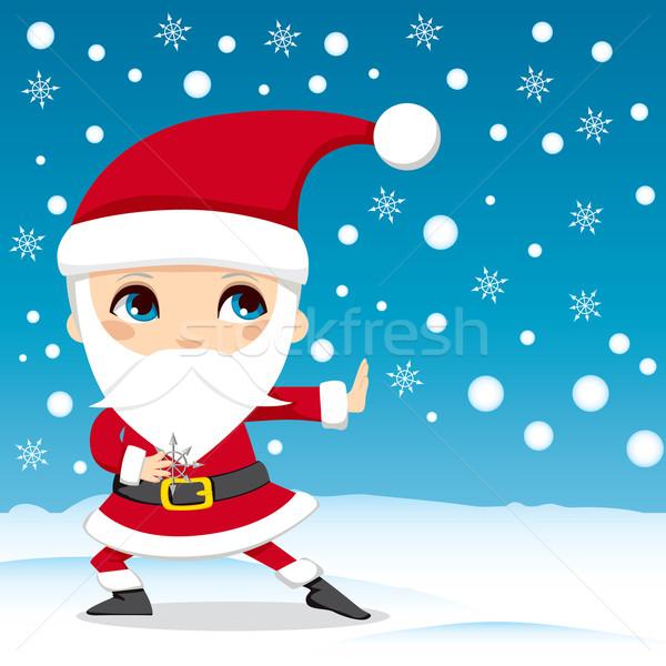Дед Мороз ниндзя снежинка звезды Рождества Сток-фото © Kakigori