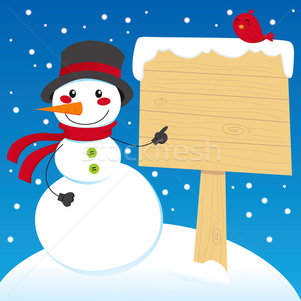 Stock photo: Snowman Sign Post