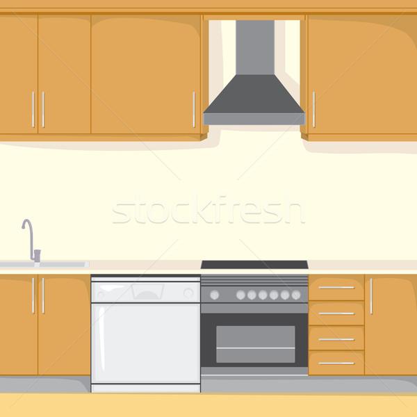 Keuken achtergrond illustratie moderne huis keukenapparatuur Stockfoto © Kakigori