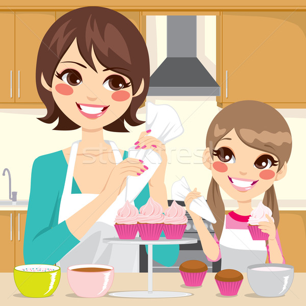 Mother and Daughter Decorating Cupcakes Stock photo © Kakigori