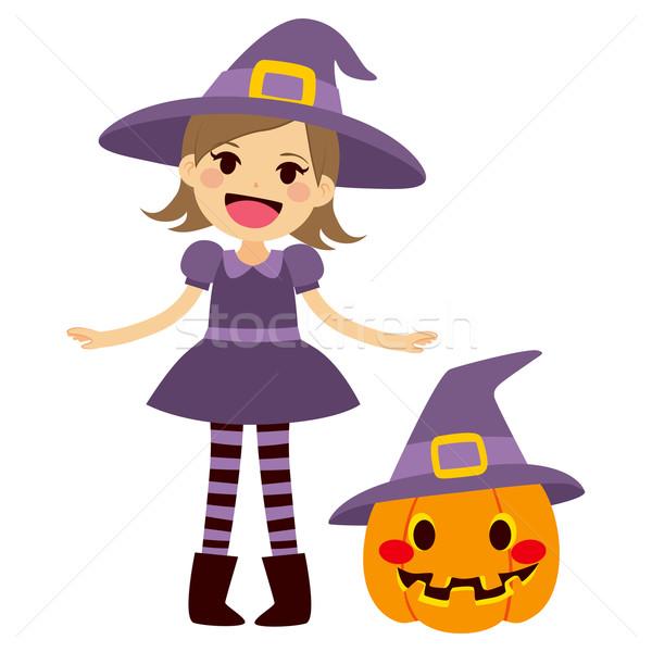 Witch dynia cute dziewczynka fioletowy Zdjęcia stock © Kakigori