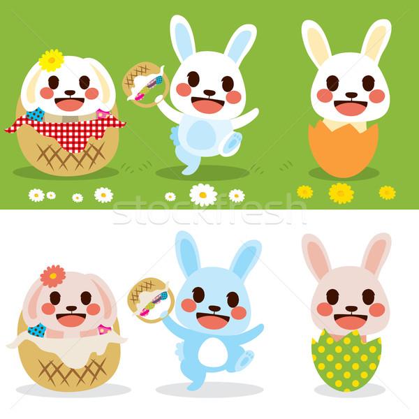 Сток-фото: Cute · Пасхальный · заяц · набор · Христос · воскрес · мало · Bunny