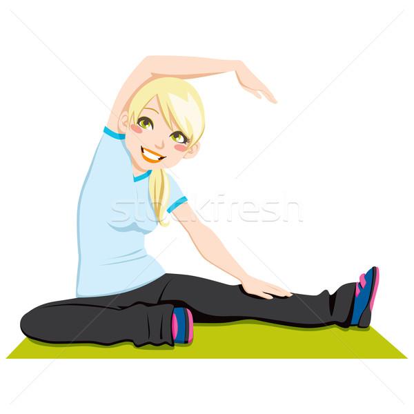 Rugalmasság edzés káprázatos szőke lány testmozgás Stock fotó © Kakigori