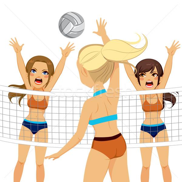Smash Block Women Volleyball Players Stock photo © Kakigori