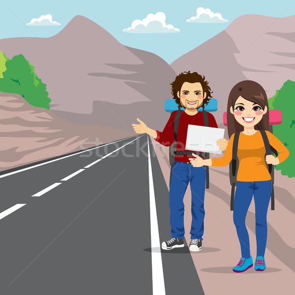 Couple Hitchhiking Stock photo © Kakigori