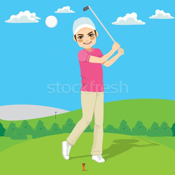 Jogador de golfe jovem feliz homem golfball grama Foto stock © Kakigori