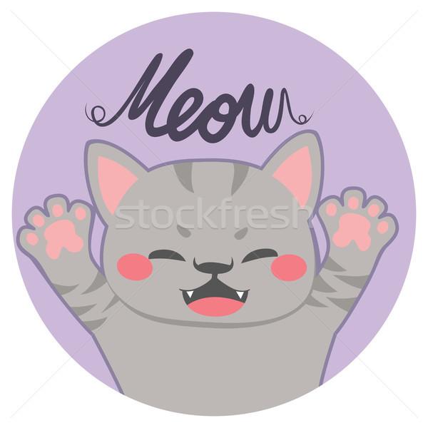 мало кошки мяу Cute портрет текста Сток-фото © Kakigori