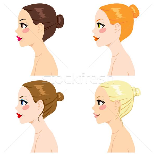 Haj zsemle stílusok négy nők profil Stock fotó © Kakigori
