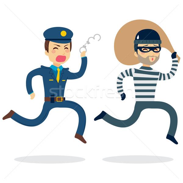 Polícia ladrão jovem homem corrida roubado Foto stock © Kakigori
