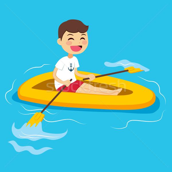 Nino remo barco feliz pequeño agua Foto stock © Kakigori