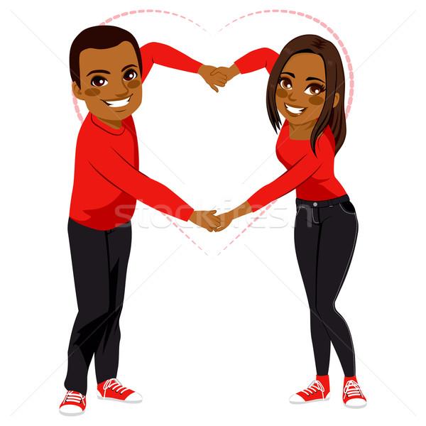 Aranyos pár szeretet karok forma afroamerikai Stock fotó © Kakigori