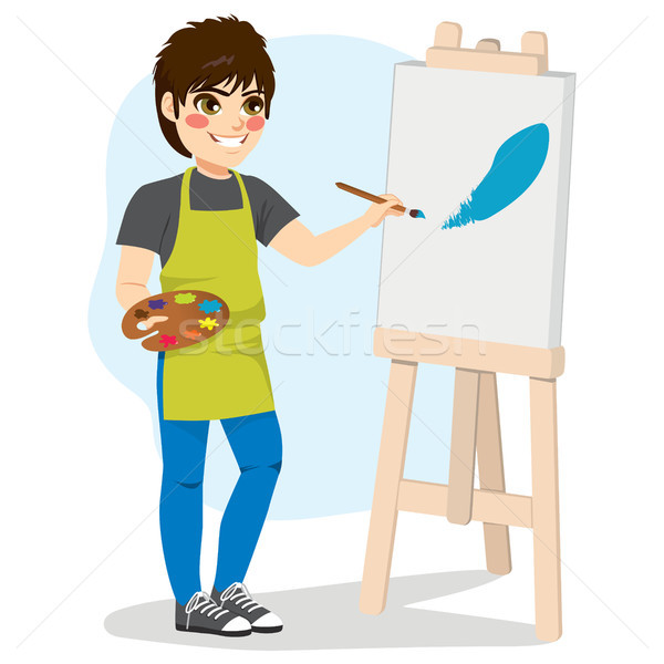 Boy Painting Canvas Stock photo © Kakigori