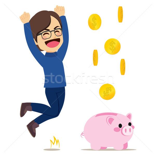 Happy Man Piggy Bank Stock photo © Kakigori