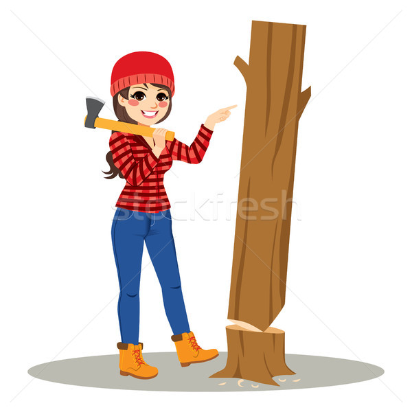 Female Lumberjack Tree Easy Concept Stock photo © Kakigori