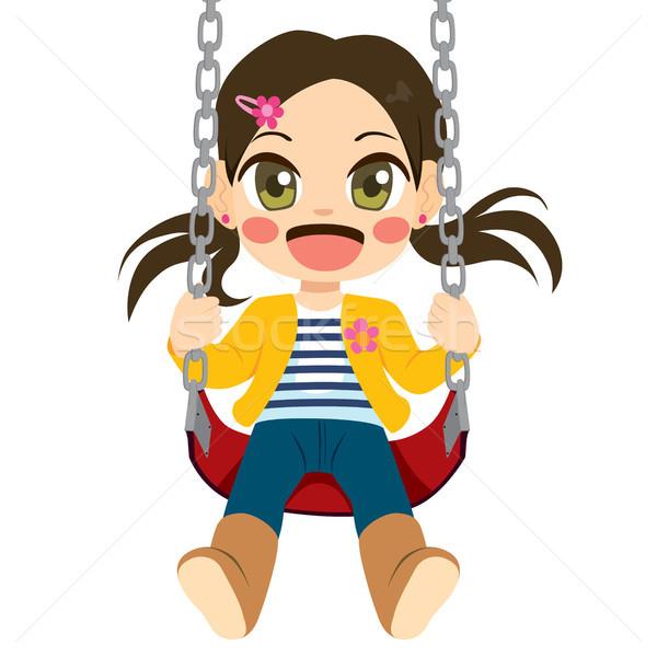 Menina balançar bonitinho little girl feliz jogar Foto stock © Kakigori