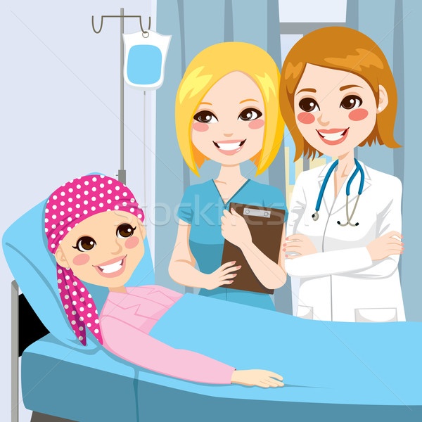 Femme médecin visiter jeune fille infirmière couché Photo stock © Kakigori