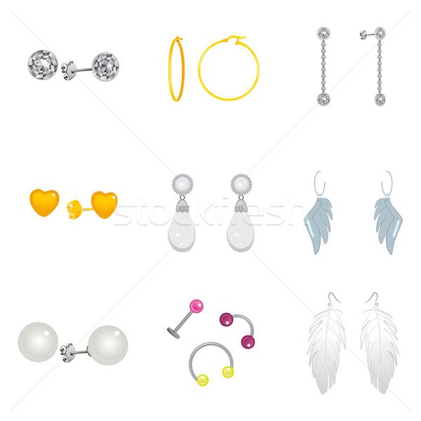 Brincos coleção conjunto diferente dourado prata Foto stock © Kakigori