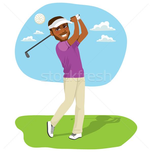 African american golfista giovani pallina da golf golf driver Foto d'archivio © Kakigori