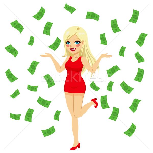 Sexy Blonde Under Money Rain Stock photo © Kakigori