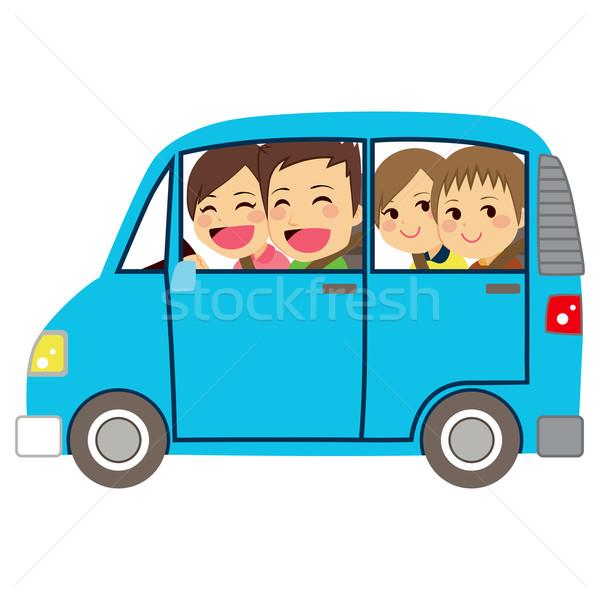 Boldog család autó mikrobusz oldalnézet illusztráció aranyos Stock fotó © Kakigori