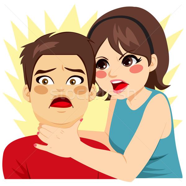 Vrouw man jonge boos geschokt hulpeloos Stockfoto © Kakigori