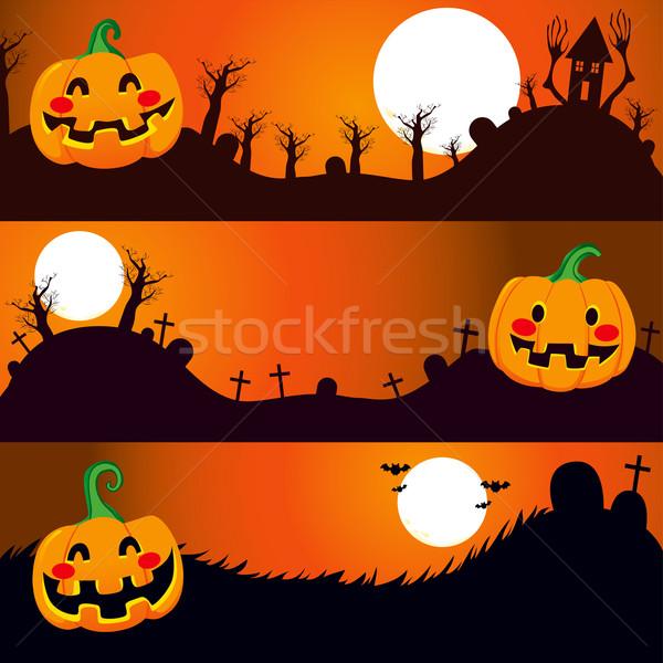 Halloween Night Banners Stock photo © Kakigori