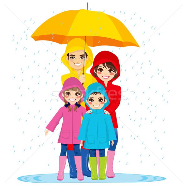 Család esernyő boldog család nagy esős nap Stock fotó © Kakigori