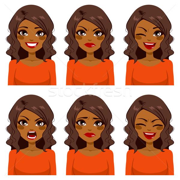 Vrouw zes gezicht uitdrukkingen mooie afro-amerikaanse Stockfoto © Kakigori