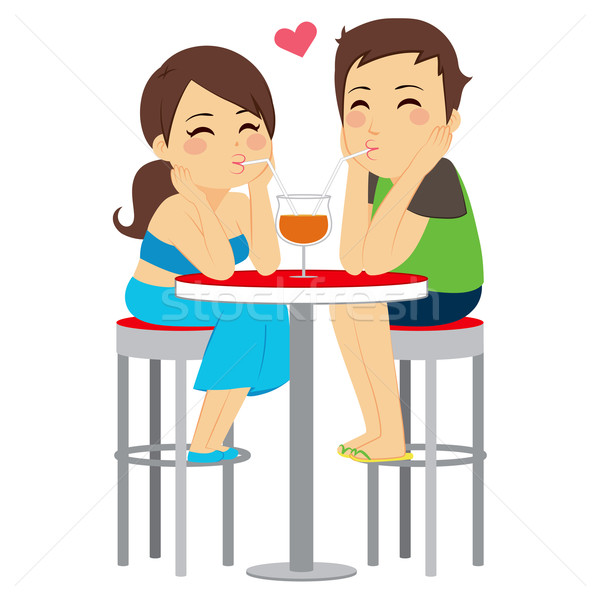 Couple Love Drinking Same Glass Stock photo © Kakigori