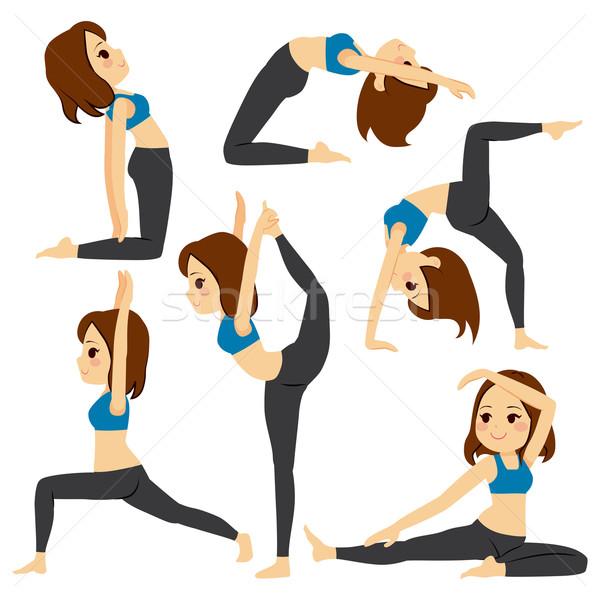 Stockfoto: Yoga · meisje · ingesteld · opleiding · mooi · meisje