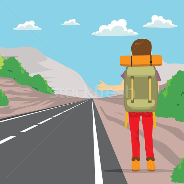 Hitchhiking Back Man Stock photo © Kakigori