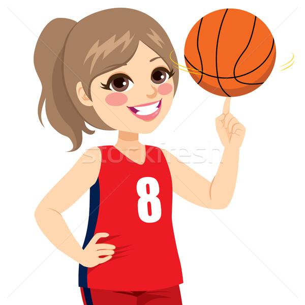 Girl Spinning Basketball Stock photo © Kakigori