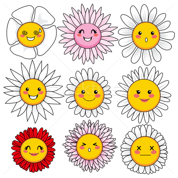 Funny Flower Faces Stock photo © Kakigori