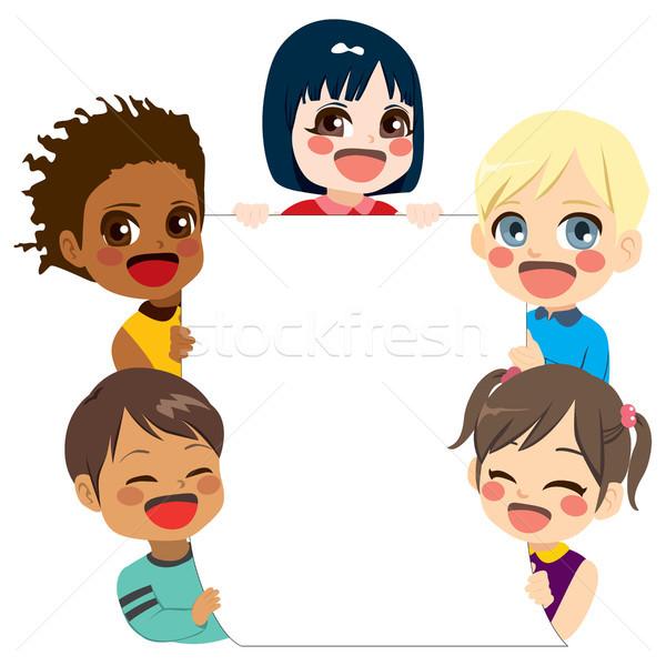 Crianças bandeira ilustração bonitinho pequeno Foto stock © Kakigori