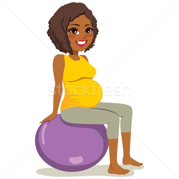 Сток-фото: йога · беременная · женщина · красивой · молодые · афроамериканец · женщину