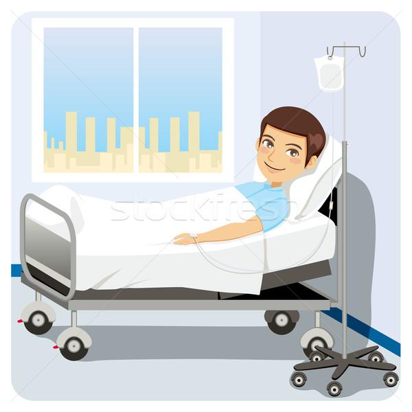 Homem cama de hospital intravenoso saúde Foto stock © Kakigori