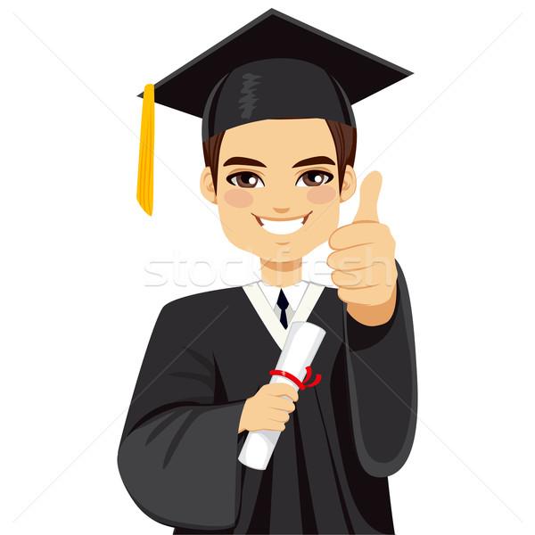 Stock fotó: Barna · érettségi · fiú · boldog · nap · diploma