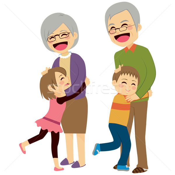 Grandchildren Hugging Grandparents Stock photo © Kakigori